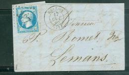 Yvert N° 22 Sur LSC Oblitéré GC 297 ( Ballon - Sarthe ) En Aout 1865 - Lp27006 - 1849-1876: Klassieke Periode
