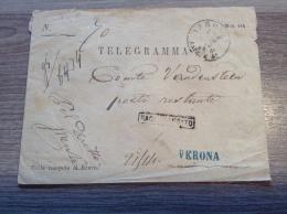 Italia 1872, Verona Lettera TELEGRAMMA RACCOMANDATO LOCALE R ! (telegrafi, Telegramm Brief, Telegram Cover, Telegramme )