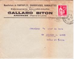 Paix N°283 Sur Lettre Des Ets Gallard-Biton à Andrezé (Maine-et-Loire), Pour Chalon-sur-Saône - France
