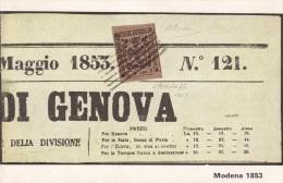 """MODENA 1853 MARCA PER GIORNALI CON LA SCRITTA """"B.G.CEN.9""""-FP - Timbres (représentations)"""