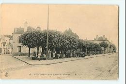 MONTGERON - Place Du Marché Animée - Carte Publicitaire Maison Sylvestre  Joinville -Edition E.L.D. ,le Deley -  2 Scans - Montgeron