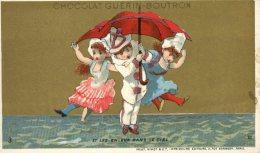 Chocolat Guérin Boutron, Thème Enfants, Pierrot & Jeunes Filles, Parapluie Rouge Lith. Vallet Minot - Guerin Boutron