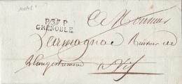 10048# P 37 P GRENOBLE 31 * 9mm Datée De 1807 ISERE Cote 30 Euros Pour VIF - Marcophilie (Lettres)