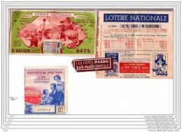 3 BILLETS  LOTERIE  NATIONALE - R. HATOUN 1951 - BLESSES DU POUMON 1939 - CAFES MASDA  SAO PAULO .1939 - Billets De Loterie