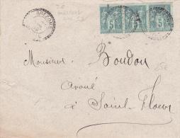 1899 - SAGE - ENVELOPPE De BREZONS (CANTAL) Avec CACHET FACTEURS BOITIERS TYPE 1884 - 1877-1920: Semi-moderne Periode