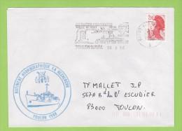 BH LA RECHERCHE, Flamme Illustrée Temporaire Toulon Naval 30/9/88 - Postmark Collection (Covers)