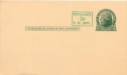 USA  -   Intero Postale  -  1 Cent  Revalued  2 Cents - 1921-40