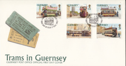 Guernsey FDC Scott #503-#507 SG #588-#592 Set Of 5 Historic Trams And Streetcars - Guernesey
