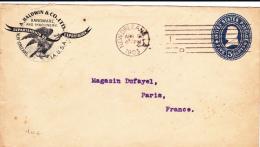 USA - 1903 - ENVELOPPE ENTIER POSTAL Avec BEAU REPIQUAGE COMMERCIAL (AIGLE) De NOUVELLE ORLEANS (LOUISIANNE)