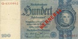 Banknoten Der Deutschen Reichsbank V. 1935 --- 100 Reichsmark   (047) - [ 4] 1933-1945: Derde Rijk
