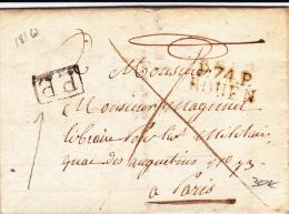 SEINE INFERIEURE - 1810 - LETTRE PORT PAYE Du 7° REGIMENT De CUIRASSIER De ROUEN - 1801-1848: Précurseurs XIX