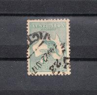 Australia   -   1913.  Canguro.  Kangaroo On Map. 1 S  Green.  Rare - Stamps