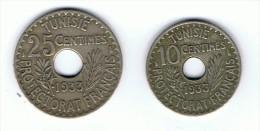 10  Et 25  Centimes De 1933 Tunisie PROFECTORAT FRANCAIS - Túnez