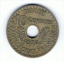 10 Centimes 1926 Prefectorat Francais - Túnez