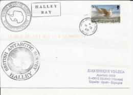 ANTARTIDA CC HALLEY BAY SELLO AVE PAJARO MARCA DEL BUQUE RRS ERNES SHACKLETON ALGUNA ARRUGA - Territorio Antártico Británico  (BAT)