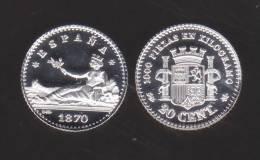 ¡¡¡VERY RARE!!! España/Gobierno Provisional 20 Céntimos 1.870#7-0 KM#650(Y55) SC DL-10.036 Ale REPLICA - [ 1] …-1931 : Kingdom