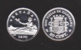 ¡¡¡VERY RARE!!! España/Gobierno Provisional 20 Céntimos 1.870#7-0 KM#650(Y55) SC DL-10.036 Ale REPLICA - [ 1] …-1931 : Reino