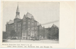 BROOKLYN EAGLE POST CARD, SERIES 8, No. 46 - GIRLS' HIGH SCHOOL, COR. NOSTRAND AVE. AND HALSEY ST. - UDB - Unclassified