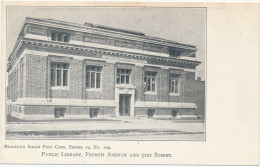 BROOKLYN EAGLE POST CARD, SERIES 19, No. 109 - PUBLIC LIBRARY, FOURTH AVENUE AND 51ST STREET - UDB - Unclassified
