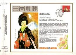 """1 FDC Soie Gd  Format COB  N° 2336 - EUROPALIA 89 - Japon -Japan - Oblitération: """" MOMIGNIES - 16/09/89"""". - FDC"""