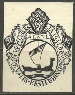 ESTLAND Estonia Estonie In Exil Ca 1930 Exlibris Välis-Eesti Ühing Society Of Estonians In Foreign Countries - Bookplates