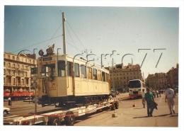 Marseille (13): Photo Projet CP GF Exposition Sur La Canebière D'ancien Tramway + Remorque De Transport Ex En 1990 RARE. - Canebière, Stadscentrum