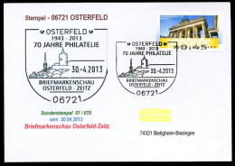 91260) BRD - Postkarte Mit SoST 07/070 Vom 30.4.2013 In 06721 OSTERFELD - 70 J. Philatelie, Briefmarkenschau - Kirche - [7] West-Duitsland