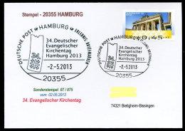 91266) BRD - Postkarte Mit SoST 07/075 Vom 2.5.2013 In 20355 HAMBURG - 34. Dt. Evangelischer Kirchentag - Affrancature Meccaniche Rosse (EMA)