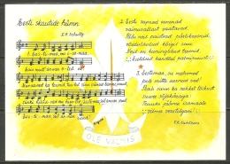 Estland Estonia In Exil 1989 Hymne Of The Estonian Pfadfinder Boy Scouts Scouting Special Card Unused - Scouting