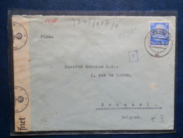 50/335  LETTRE TO BELG.   CENSURE    TIMBRES HINDENBURG - Germany