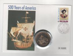 COOK ISLAND 1991 Numisbrief 500° Scoperta Dell'America 5$ Perfetta - Cook
