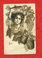 * ITALIA-Très Belle Carte Dessinée Avec Effet Or-ITALIE(Femme Entourée De Raisins Et Bouteilles)-Début 1900 - Italia