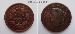 USA Large Cent Liberty Head  - 1 Cent 1839 - Emissioni Federali