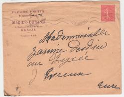 """06 - Grasse - Enveloppe à Tête """"Fleurs Fruits Dusdier-Durand Boulevard Du Jeu De Ballon - Advertising"""