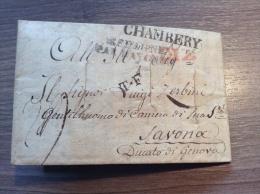 1821, Lettre CADIZ Purifié >CHAMBERY, Savoie > Savona (Genova) RRR ! (Spain Cover, Desinfected, Savoia, Desinfiziert) - 1801-1848: Precursori XIX