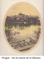 1997 - Tchéquie - Prague - Dessin Type Fusain - Sur Les Bords De La Vltava - - Prints & Engravings