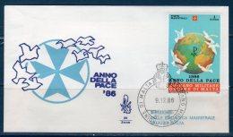 Smom 1986 -- Anno Internazionale Della Pace  -- ( Sass.258)  --- FDC./ VENEZIA - Malte (Ordre De)