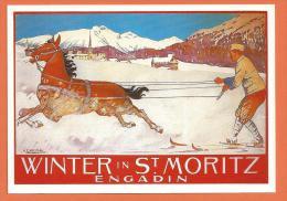 R070, Winter In St- Moritz, Anton Christoffel 1907, Skijöring, 1728, Non Circulée - GR Grisons