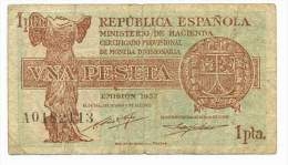 SPAIN , 1 PESETA 1937 ,  P-94 - [ 3] 1936-1975 : Régence De Franco