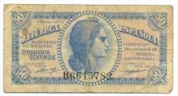 SPAIN , 50 CENTIMAS 1937 ,  P-93 - [ 3] 1936-1975 : Régence De Franco