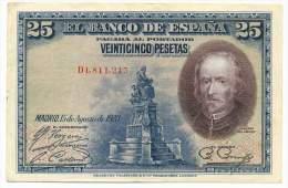 SPAIN , 25 PESETAS 15.8.1928. ,  P-74b - 1-2-5-25 Pesetas