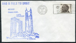 1970 USA OAO B Orbit Failure Dubeau Kennedy Space Centre Rocket Cover - Covers & Documents