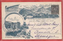 74 - MONNETIER - MORNEX - Carte Litho - PRECURSEUR 1894 - Hotel Bellevue - Chemin De Fer - Genève - Salève - France
