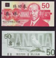(Replica)China BOC Bank Training/test Banknote,Canada Dollars B-4 Series $50 Note(blue Dot Grey Back) Specimen Overprint - Canada
