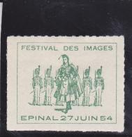 EPINAL - VIGNETTE FESTIVAL DES IMAGES  27 JUIN 1954 - Erinnophilie