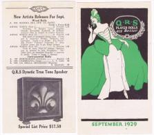 6051. Program Publicitaire New Q.R.S. Music.  Old Phonograph 1929 - Programs