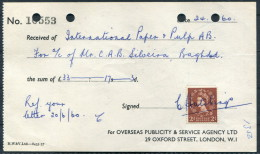 1960 Overseas Publicity Oxford Street London Receipt - International Paper & Pulp Baghdad Iraq - United Kingdom