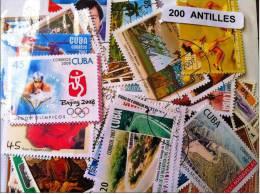 ANTILLES, Lot De 200 Timbres Tous Differents Neufs Et Oblitérés. Satisfaction Assurée - Antilles