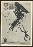 CARTE MAXIMUM Used CM RARE Card USSR RUSSIA Literature Spain Cervantes Don Quichotte Windmill Horse Painting Kukriniksy - Maximumkaarten