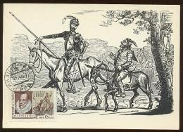 CARTE MAXIMUM CM RARE Card USSR RUSSIA Literature Spain Cervantes Don Quichotte Horse Painting Kukriniksy - 1923-1991 URSS
